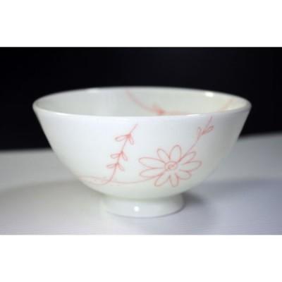 CW033 Flower Line ご飯茶碗 小 赤