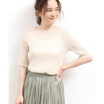 ViS / キャミ付きシアープリーツ半袖プルオーバー WOMEN トップス > Tシャツ/カットソー