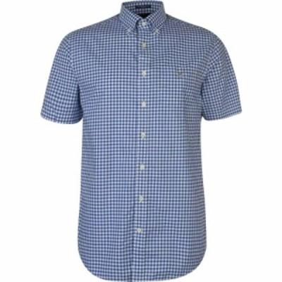 ガント Gant メンズ 半袖シャツ トップス Short Sleeve Pop Colour Gingham Shirt Blue