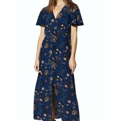 Sanctuary サンクチュアリ ファッション ドレス Sanctuary NEW Blue Floral Print Womens Size XS Slit V-Neck Maxi Dress