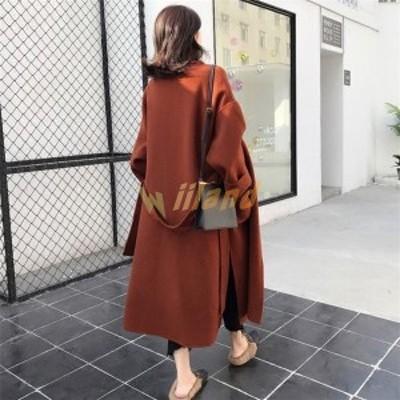 レディース ステンカラートレンチコート らしゃ ベルト付き ウール スプリングコート トレンチコート ダブル ロング丈 高品質 コート 通
