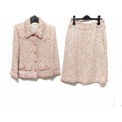 インゲボルグ INGEBORG スカートスーツ サイズ11 M レディース ピンク×白×マルチ ツイード【中古】20200604