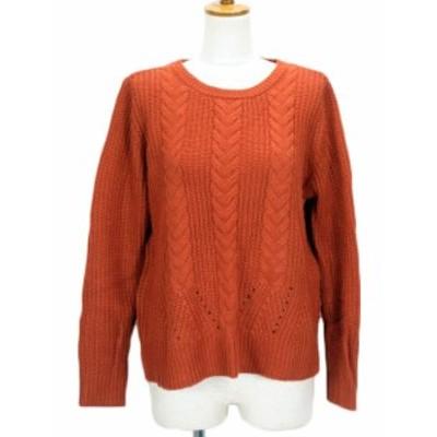 【中古】グローブ grove セーター ニット 畦編み スリット ウール混 M 茶 ブラウン レディース