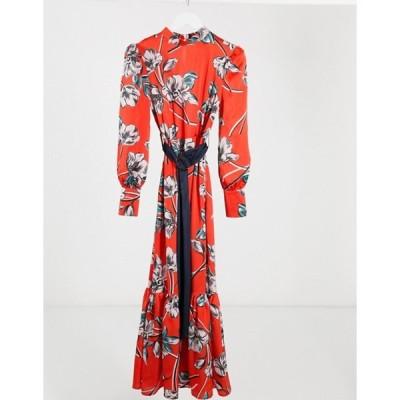 リクオリッシュ レディース ワンピース トップス Liquorish drop hem maxi dress in red floral