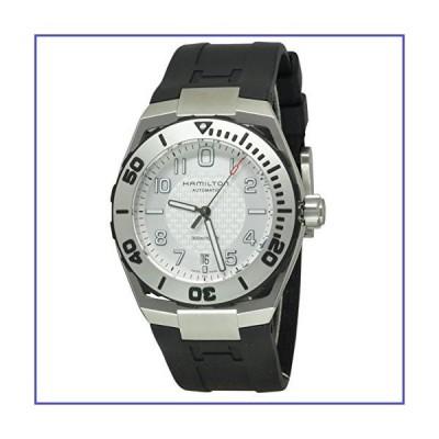 ハミルトンh78615355メンズカーキ海軍自動ブラックゴムシルバートーンダイヤル腕時計