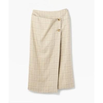 TOMORROWLAND / トゥモローランド リネンシルクチェック ミディIラインスカート