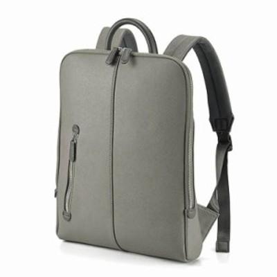 リュック リュックサック メンズ ディバッグ バッグパック ビジネスバッグ 手提げ 持ち手つき 薄マチ スリム 角シボ型押し合皮