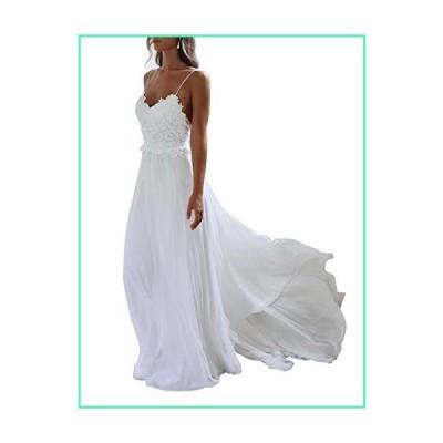 XJLY Spaghetti Straps Applique Backless Long Chiffon Beach Wedding Dress Ivory並行輸入品