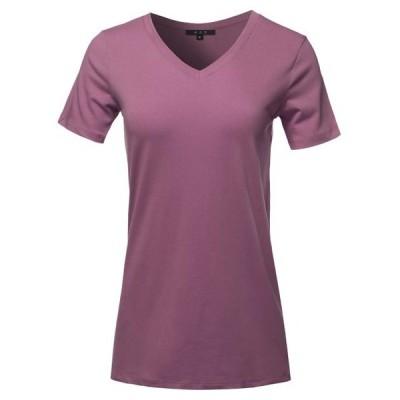 レディース 衣類 トップス A2Y Women's Basic Solid Premium Cotton Short Sleeve V-neck T Shirt Tee Tops Egg Plant S ブラウス&シャツ