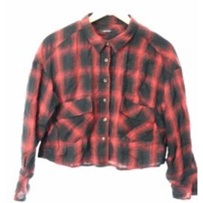 【中古】ローズバッド ROSE BUD シャツ ショート オーバーサイズ チェック 長袖 F 赤 レッド 黒 ブラック /MK6 レディース