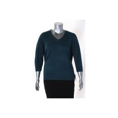 カレン スコット セーター ニット Karen Scott Teal Plus サイズ V Neck Solid セーター サイズ 1X 44LAFO