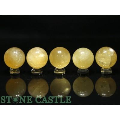 置石一点物 天然石 置き石 丸玉 ゴールデンカルサイト (5個セット) No.13 パワーストーン