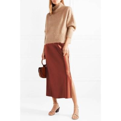 スカート サテンナロースカート サテン ブラウン ブラック グリーン 光沢 上品 艶やか 華やか ロング丈 ファスナー Aライン スリット フレア シンプル おしゃれ