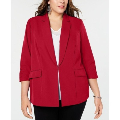 アイエヌシーインターナショナルコンセプト ジャケット&ブルゾン アウター レディース INC Plus Size 3/4-Sleeve Blazer, Created for Macy's Real Red