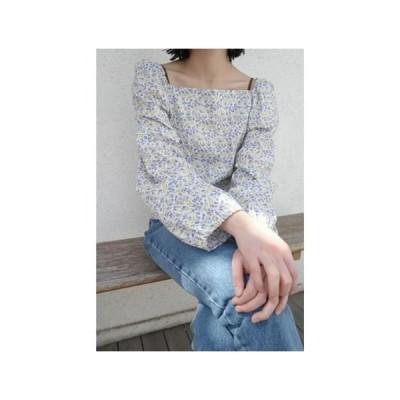 レディース ブラウス floral blow puff blouse