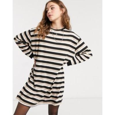 エイソス レディース ワンピース トップス ASOS DESIGN oversized long sleeve t-shirt dress in camel stripe Camel and black