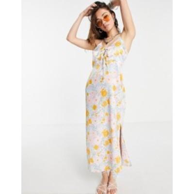 トップショップ レディース ワンピース トップス Topshop Tie front slip in pastel floral print Multi