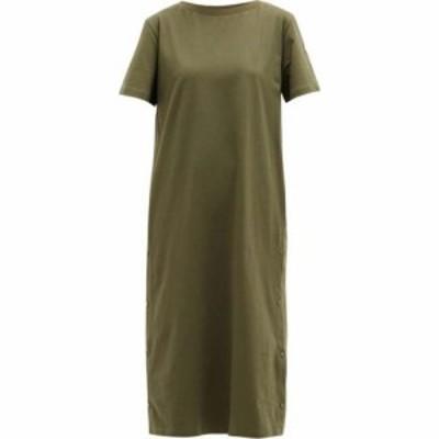モンクレール Moncler レディース ワンピース Tシャツワンピース ワンピース・ドレス Logo-patch cotton T-shirt dress Green