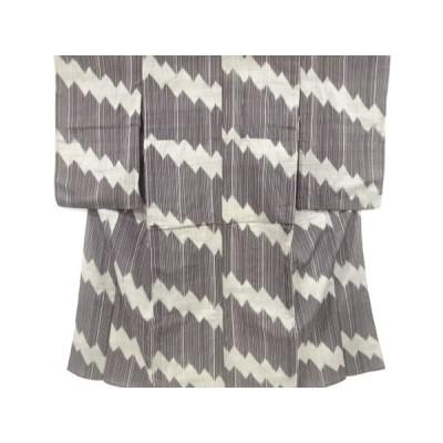 アンティーク 縞に幾何学模様織り出し手織り紬単衣着物