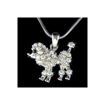 ネックレス インポート スワロフスキ クリスタル ジュエリー ~Petite French POODLE DOG made with Swarovski Crystal puppy Charm Girls Necklace
