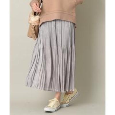 INTERPLANET(インタープラネット)シャイニーフィラメントサテンプリーツスカート