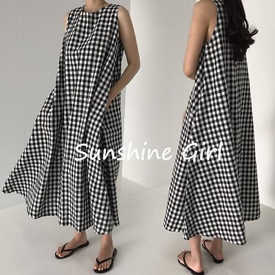 Z386 韓国ファッションワンピース夏服  チェックのワンピース ワンピース スカート