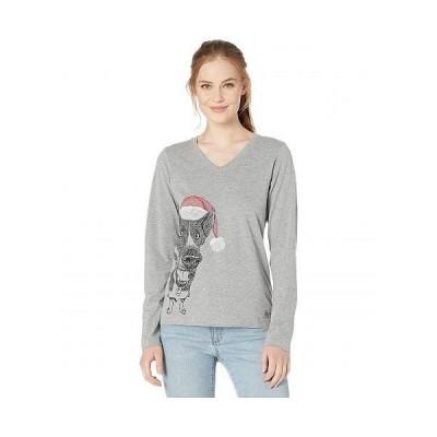 Life is good ライフイズグッド レディース 女性用 ファッション Tシャツ Long Sleeve Crusher Merry Chrismutt T-Shirt - Heather Grey