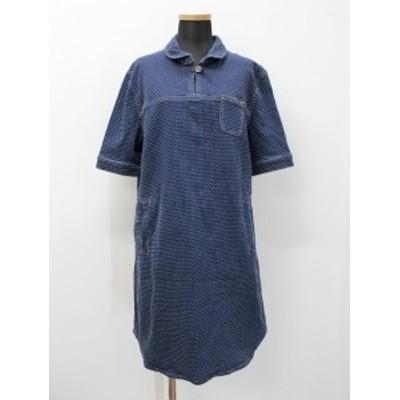 【中古】ブルート BLUETO 刺し子 ストレッチデニム 丸襟 ラウンドカラー シャツ ワンピース インディゴブルー