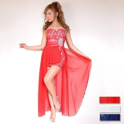 激安 セール パーティー 結婚式  キャバ 【フリーサイズ】 ミニIN足魅せビジューロングドレス