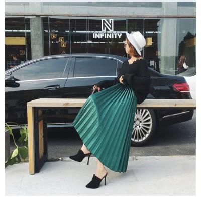 送料無料 全5色 韓国ファッション可愛い デザイン ハイウエスト 光沢 プリーツ ミディアムスカート