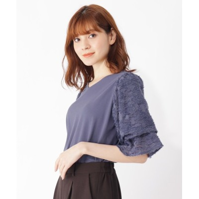 grove / 【S-LL/テレワーク/顔映え】ツッキリジャカード袖異素材プルオーバー WOMEN トップス > Tシャツ/カットソー