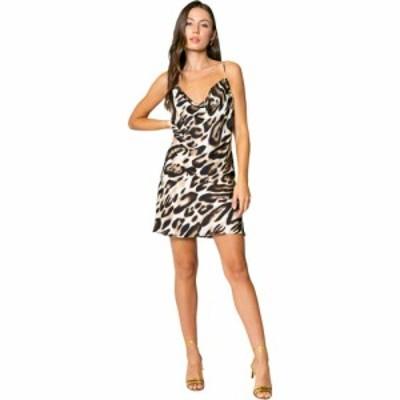 ラベンダーブラウン LAVENDER BROWN レディース ワンピース ミニ丈 ワンピース・ドレス Cheetah Printed Cowl Neck Bias Mini Dress Taup