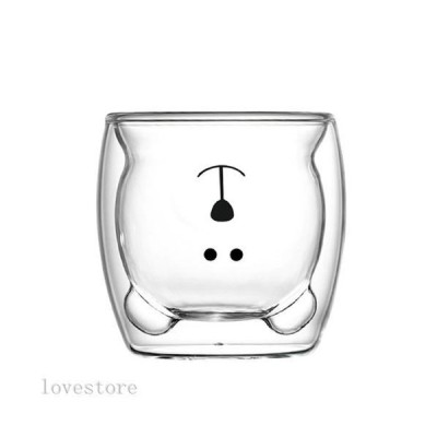 クマカップ タンブラー 漫画ガラスマグカップ マグカップ 250ml 透明 ガラス かわいい ダブルウォール 二重ガラス 食洗機対応 耐?