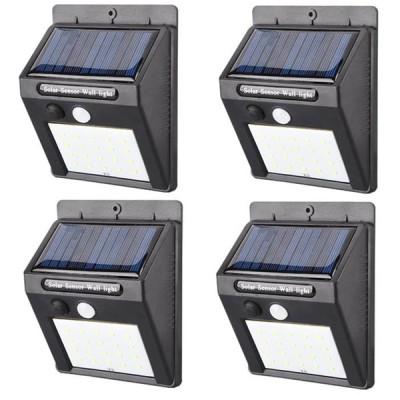 新型 LED センサーライト 4個セット 屋外 人感 明暗 ソーラーライト 常夜灯 20灯 配線 電池 不要 自動点灯 防水 防犯 省エネ 庭 玄関 塀 壁 照明