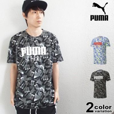 PUMA プーマ Tシャツ 半袖 メンズ 総柄 SPORT AOP 大きいサイズ対応 トップス 2020 新作
