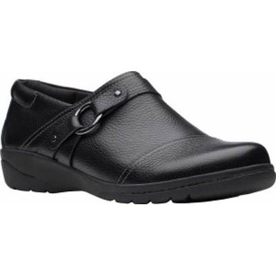 クラークス レディース スリッポン・ローファー シューズ Women's Clarks Cheyn Fame Clog Black Tumbled Leather