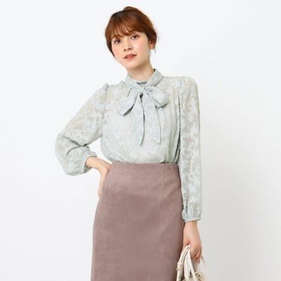 クチュール ブローチ Couture brooch カットジャガードブラウス (ライトグリーン)
