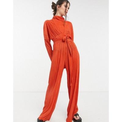 エイソス ASOS DESIGN レディース オールインワン ジャンプスーツ ワンピース・ドレス high neck plisse wide leg jumpsuit in brown ラスティック