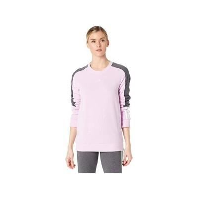 アディダス Color-Block Linear Sweatshirt レディース パーカー スウェット フード Clear Lilac/White