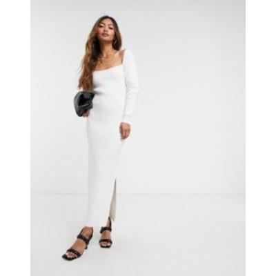 エイソス レディース ワンピース トップス ASOS DESIGN knitted dress with cut out back detail in cream Cream