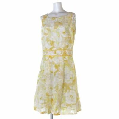 【中古】ハロッズ Harrods ワンピース ドレス ノースリーブ 膝丈 花柄 総柄 黄 白 2 IBS88 レディース