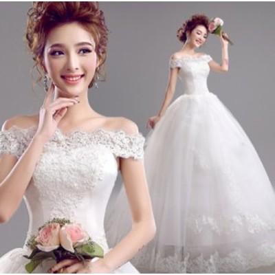 結婚式ワンピース お嫁さん 豪華な ウェディングドレス 花嫁 ドレス フリル袖 オフショルダー ビスチェタイプ 白ドレス タイトスカート