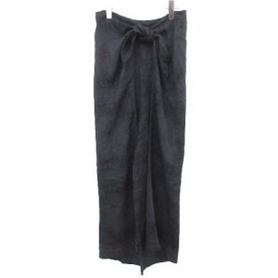 【中古】リト Rito ワイドパンツ スカーフ柄 リボンベルト  カシュクール 36 黒  /☆G レディース