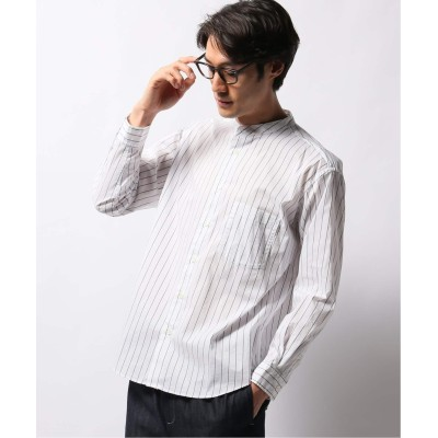メンズ ベーセーストック ライクラウェザーストレッチバンドカラーシャツ ホワイト A L