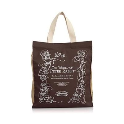 [ピーターラビット] トートバッグ リース柄プリント入 角型 ショッピング手提げバッグ 1809-0646 (ブラウン One Size)