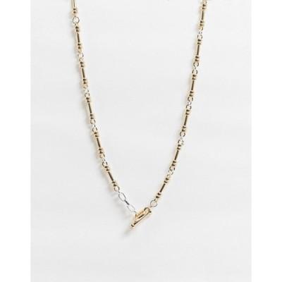 チェーンドアンドエブル メンズ ネックレス・チョーカー アクセサリー Chained & Able neckchain with bar clasp in mixed metal