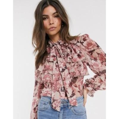 リバーアイランド レディース シャツ トップス River Island ruffled blouse in pink floral print Pink print