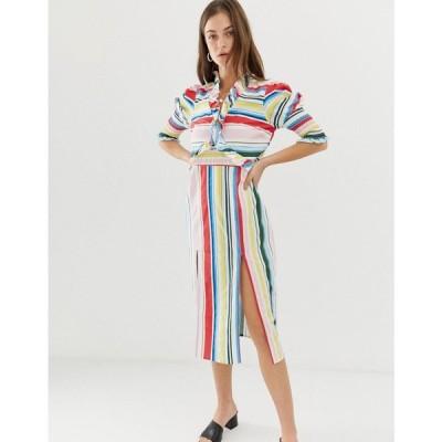 ヴェロモーダ Vero Moda レディース ワンピース ワンピース・ドレス Stripe Midi Dress With Side Splits Rainbow bright
