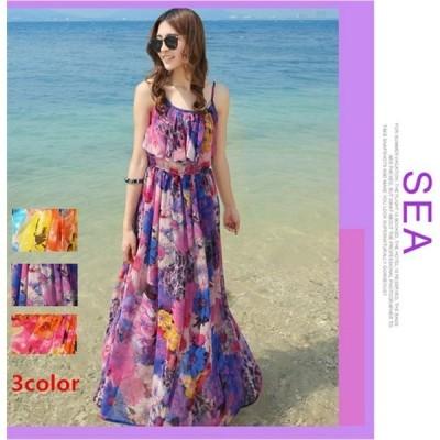 キシ 丈 リゾート ロング 花柄 ワンピース シフォン 袖なし リゾート ドレス スカート旅行 お出かけ