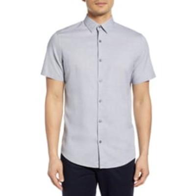 カリブレート シャツ トップス メンズ Jacquard Short Sleeve Button-Up Shirt Black White Micro Jacquard